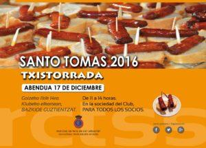 PINTXOS DE TXISTORRA - CARTEL SANTO TOMÁS 2016 - 17 DE DICIEMBRE
