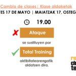 CAMBIO HORARIO DE ACTIVIDADES 17.05.18