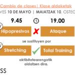 2 cambios de actividades para el 10 de mayo