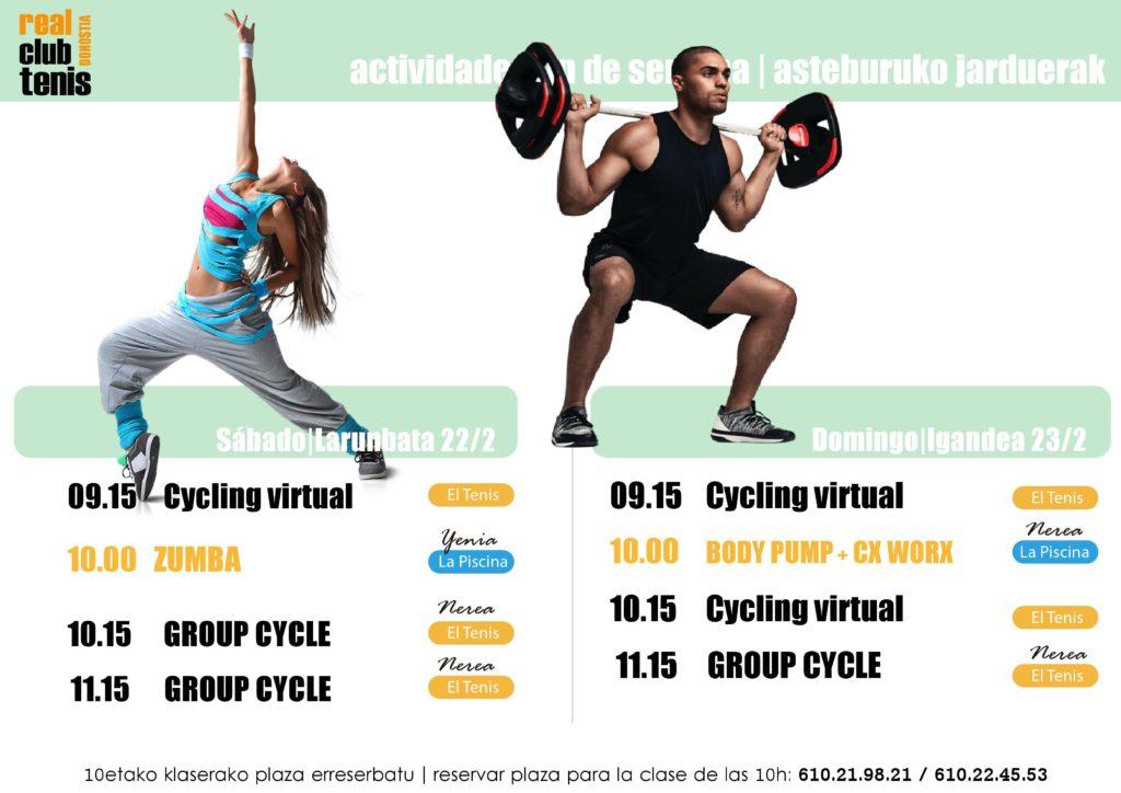 ACTIVIDADES DIRIGIDAS DEL FIN DE SEMANA DEL 22 Y 23 DE FEBRERO